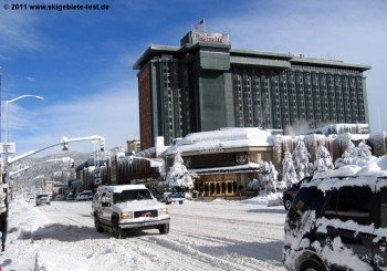 A part of South Lake Tahoe is in Nevada, where casinos are abound.
