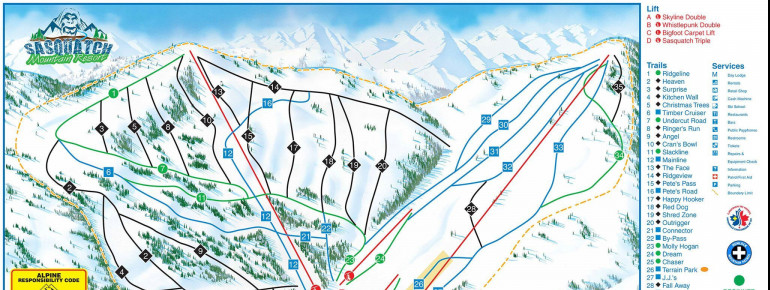 Trail Map Sasquatch Mountain Resort (Hemlock Valley)
