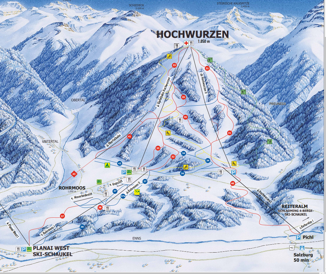 Hochwurzen Schladming Trail Map Piste Map Panoramic