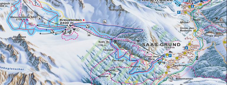 Trail Map Saas-Grund Hohsaas
