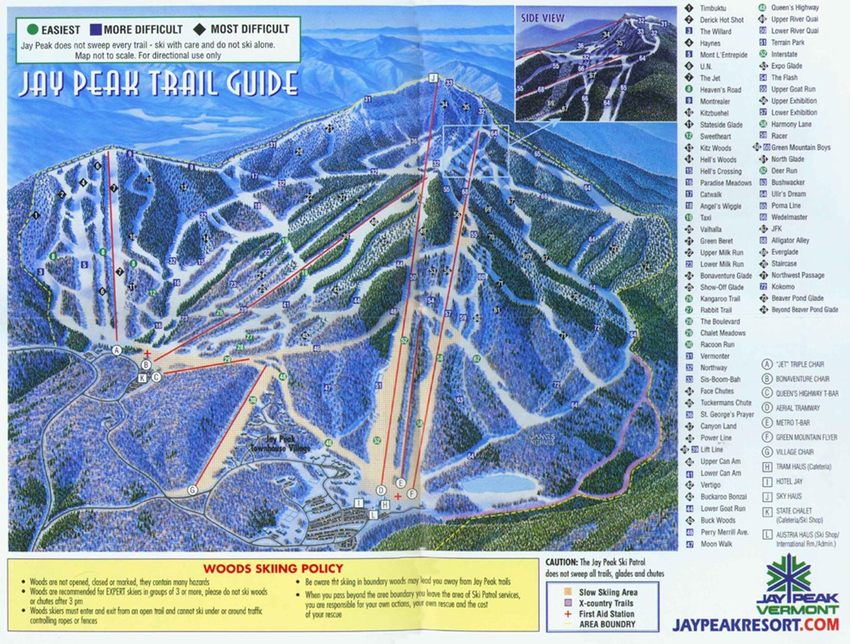 lifts. jay peak trail map • piste map • panoramic mountain map