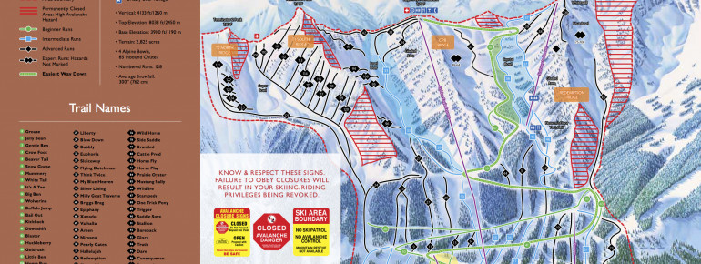 Trail Map Kicking Horse Resort