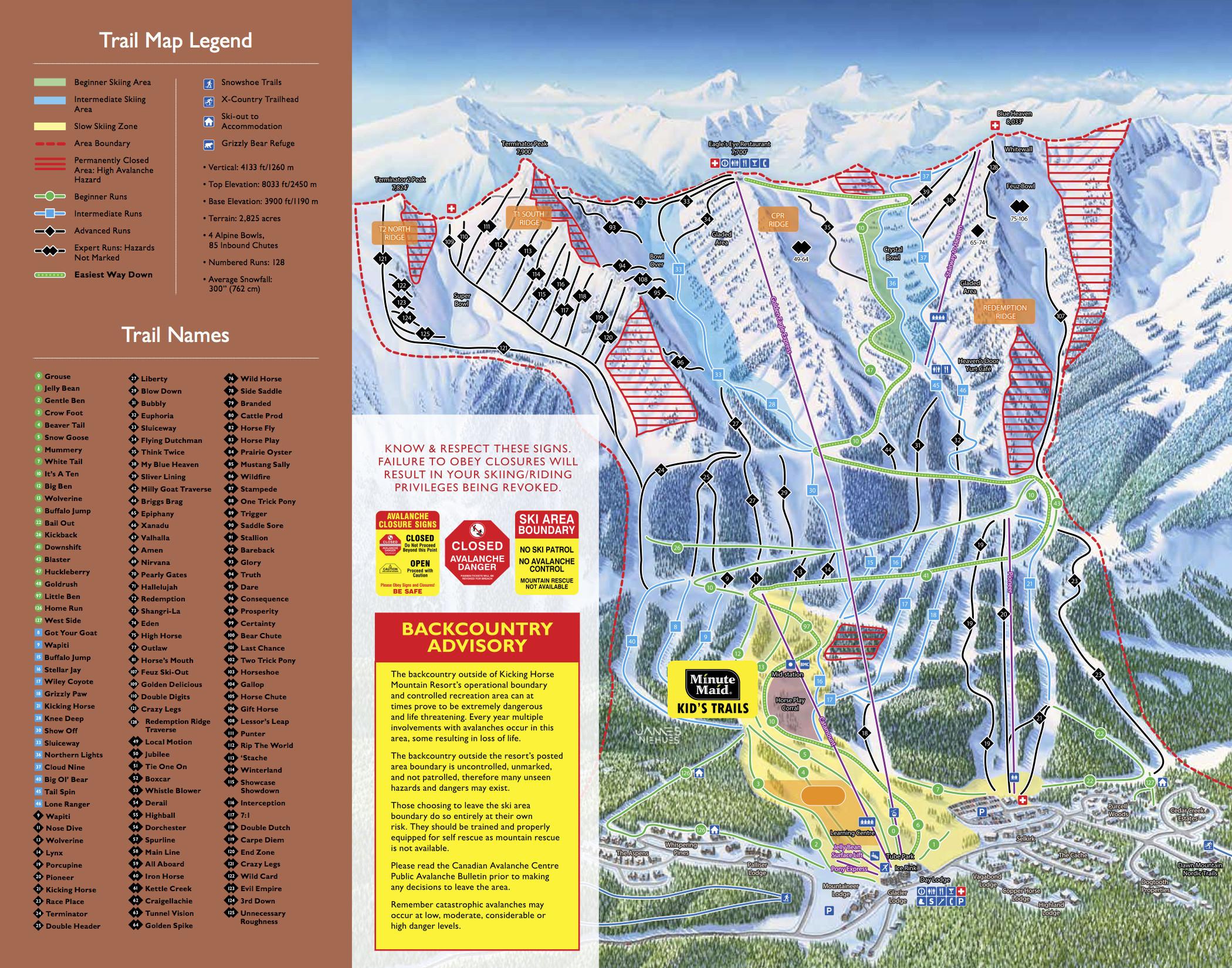 Kicking Horse Map Kicking Horse Mountain Resort   Golden, B.C. Trail Map • Piste Map