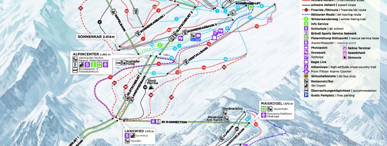 Trail Map Kitzsteinhorn - Maiskogel - Kaprun