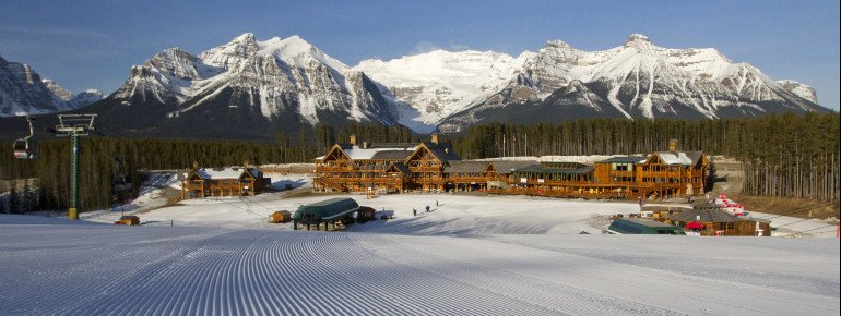 Enjoy the breathtaking scenery behind the Lake Louise base station.