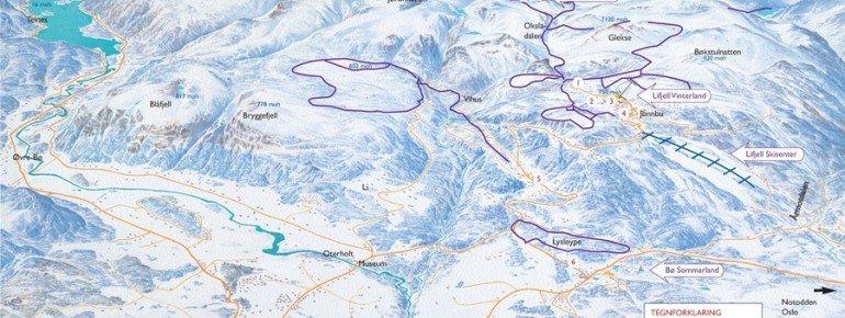 Trail Map Lifjell Telemark