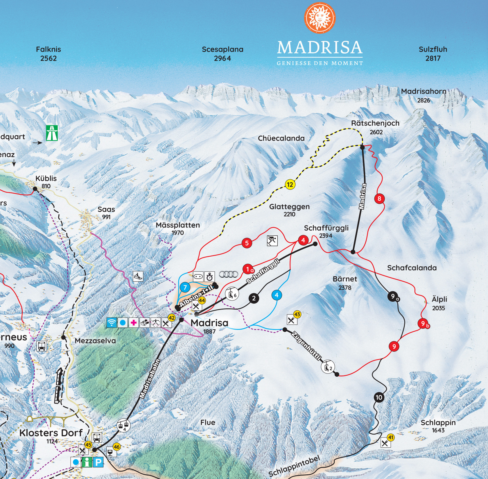madrisa klosters trail map • piste map • panoramic mountain map
