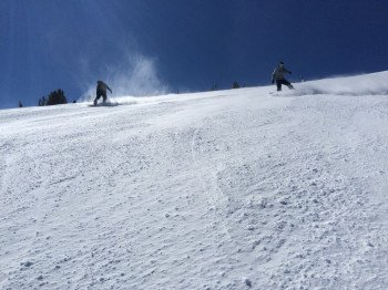 Skiing down Face of Five at High Five Express.