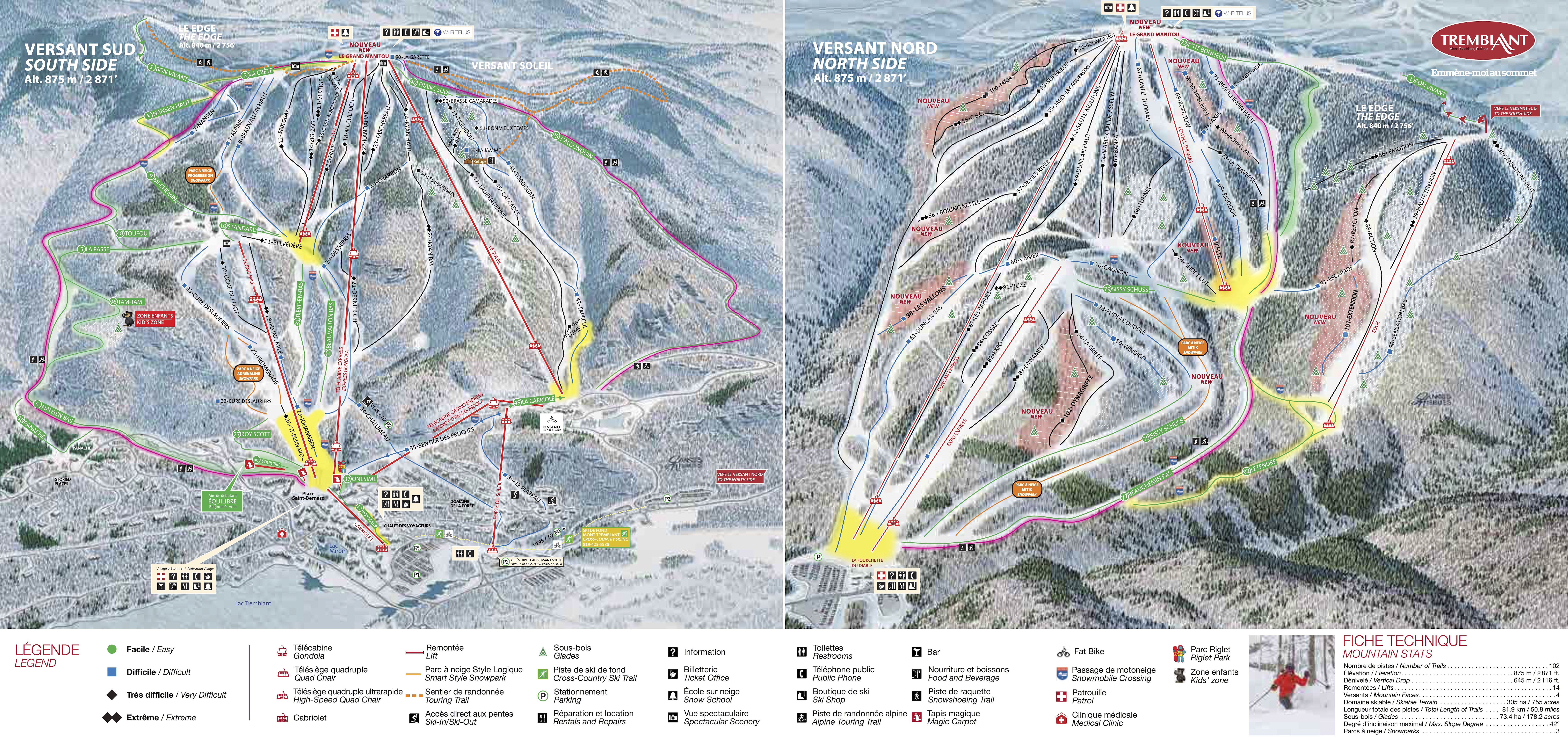 Map Of Tremblant Canada Mont Tremblant Trail Map • Piste Map • Panoramic Mountain Map