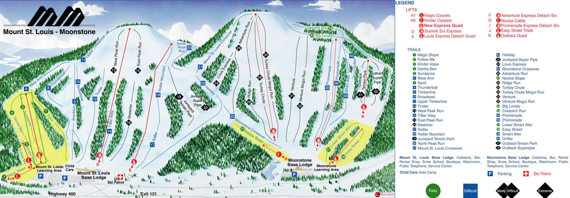 Mount St Louis Moonstone Trail Map Piste Map Panoramic