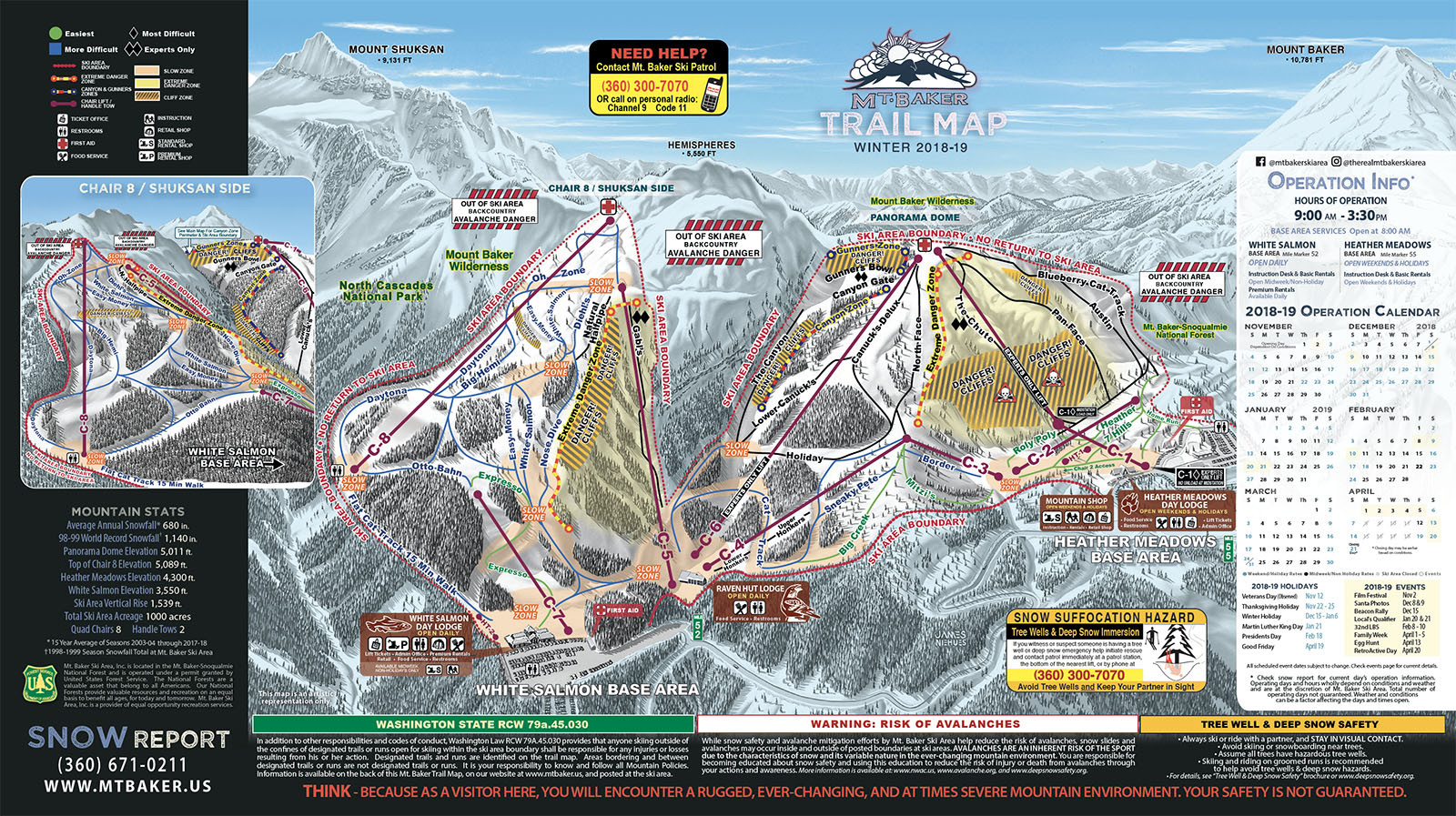 Mt Baker Ski Area Trail Map • Piste Map • Panoramic Mountain Map