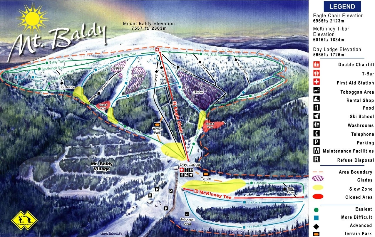 mt baldy family ski area trail map • piste map • panoramic mountain map