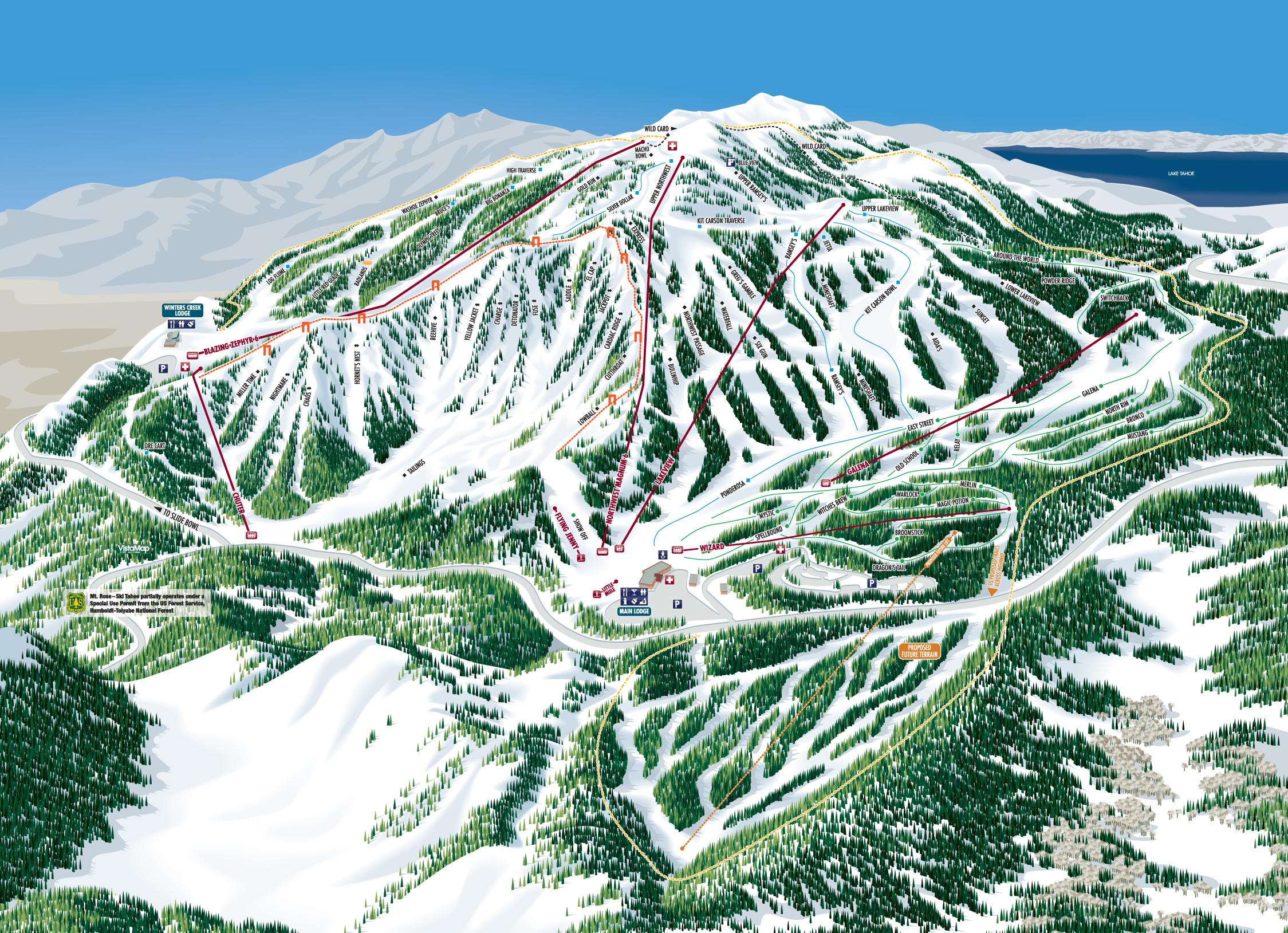 Mt Rose Ski Tahoe Trail Map Piste Map Panoramic Mountain Map - Map of us ski resorts