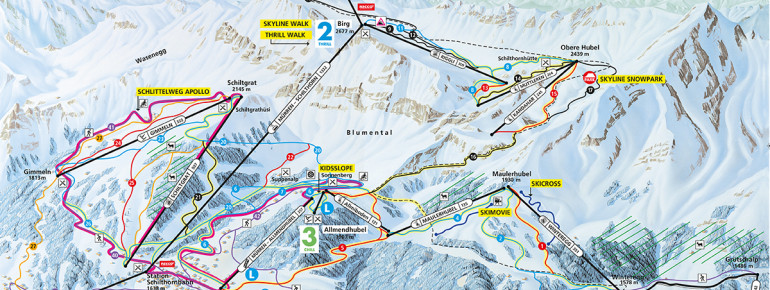 Trail Map Mürren Schilthorn