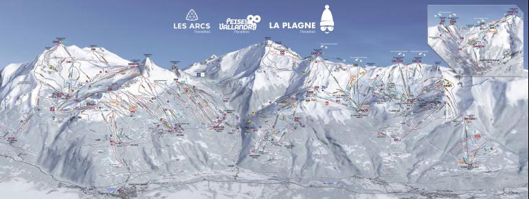 Trail Map Paradiski (Les Arcs – Peisey Vallendry – La Plagne)
