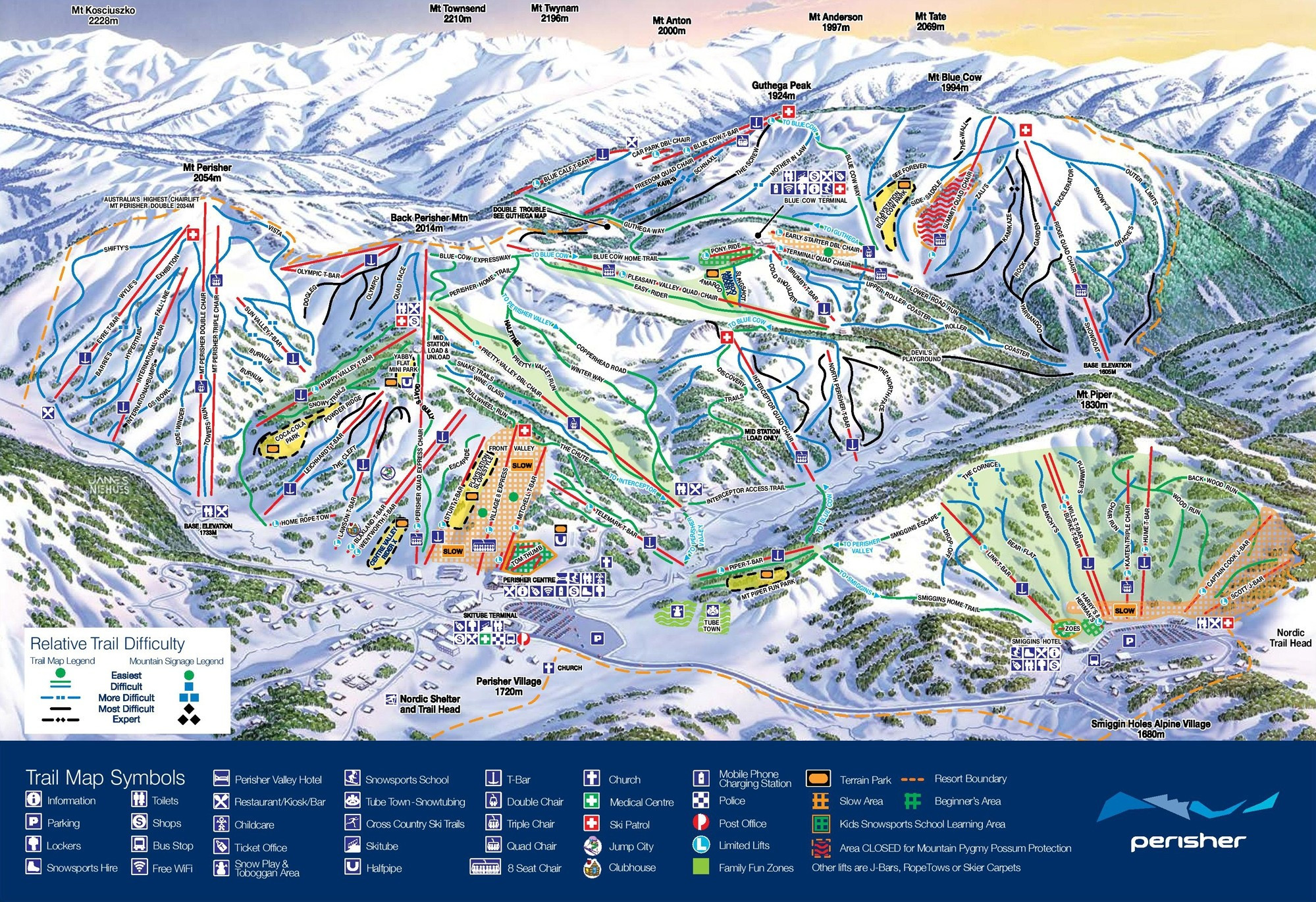 perisher blue trail map • piste map • panoramic mountain map