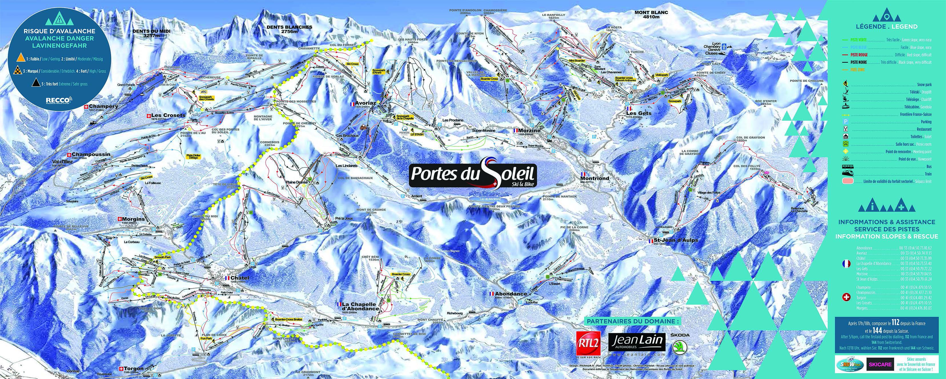Portes du Soleil Trail Map • Piste Map • Panoramic Mountain Map
