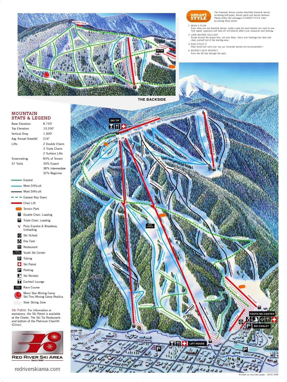 red river ski area trail map • piste map • panoramic mountain map