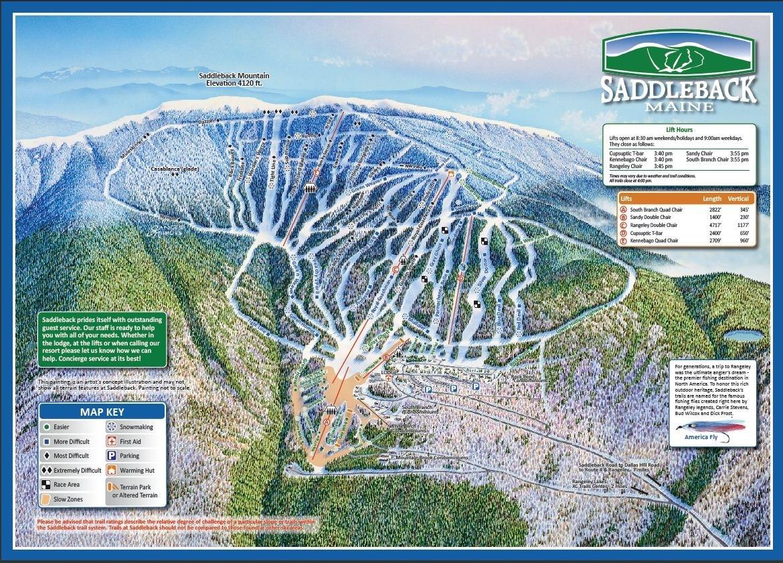 Ski Resorts In Maine Map.Saddleback Ski Area Trail Map Piste Map Panoramic Mountain Map