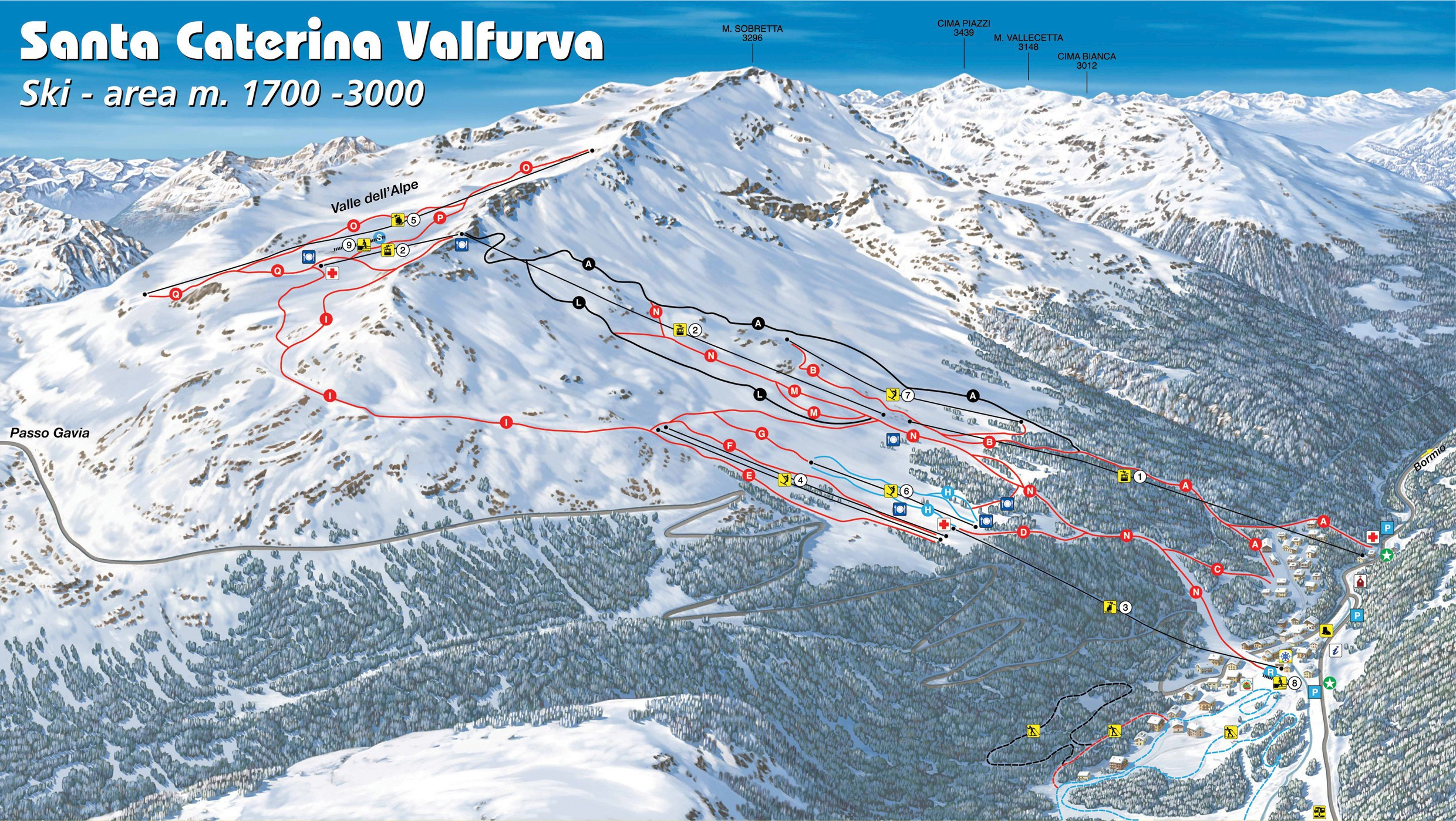 Ski Virginia Map.Santa Caterina Valfurva Trail Map Piste Map Panoramic Mountain Map