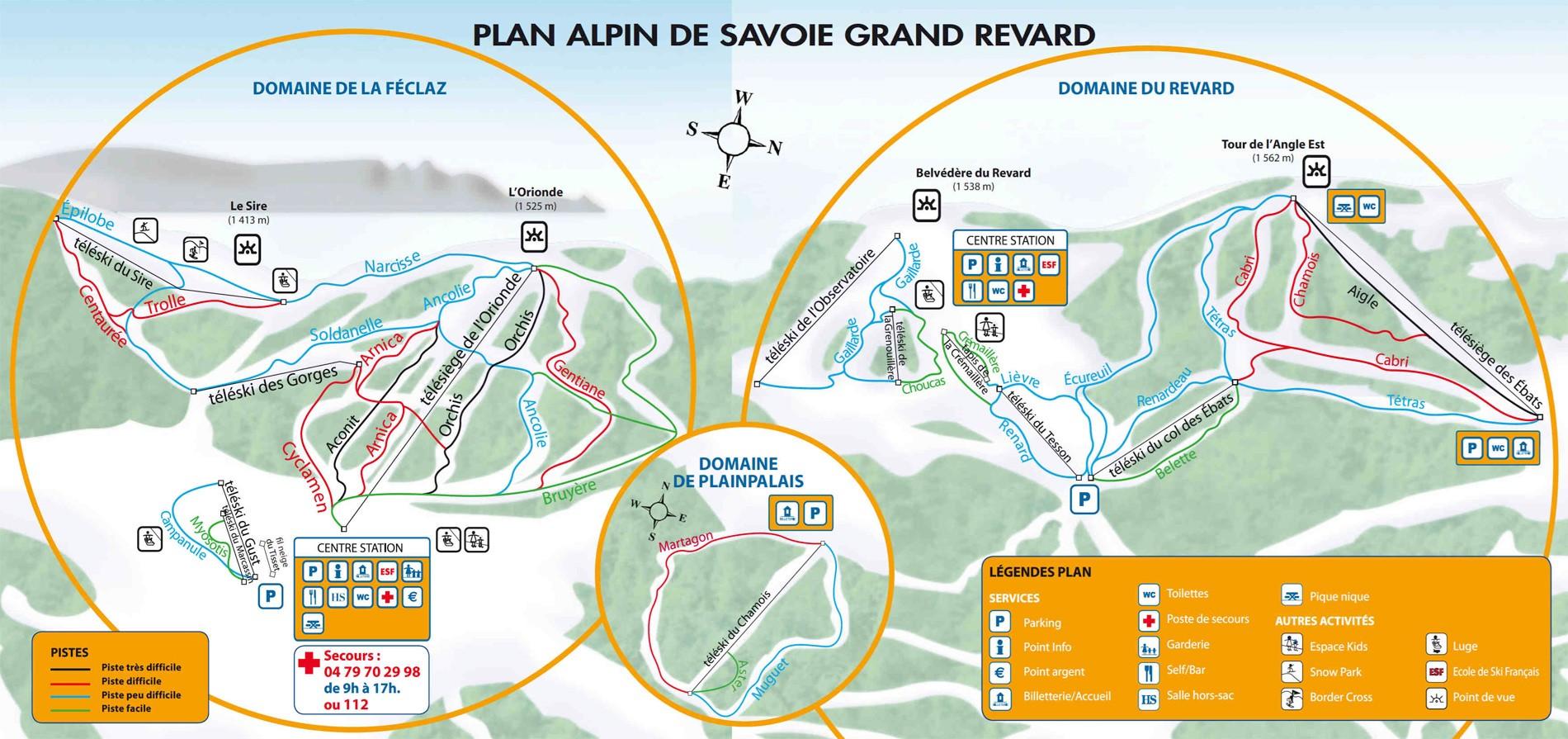 Savoie Grand Revard Trail Map * Piste Map * Panoramic Mounta