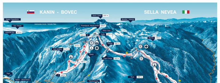 Trail Map Sella Nevea - Bovec Kanin