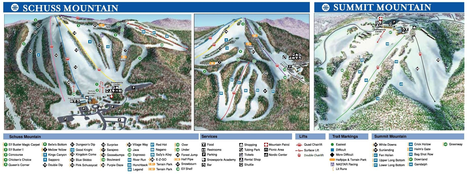 shanty creek resort trail map • piste map • panoramic mountain map