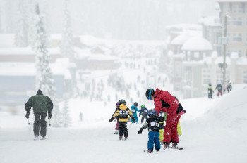 Children's ski school at Silver Star Mountain Resort.