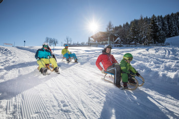The Schatzberg offers a lot of tobogganing fun for families.