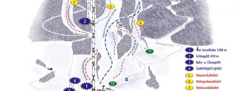Trail Map Skiregion Joglland Hauereck