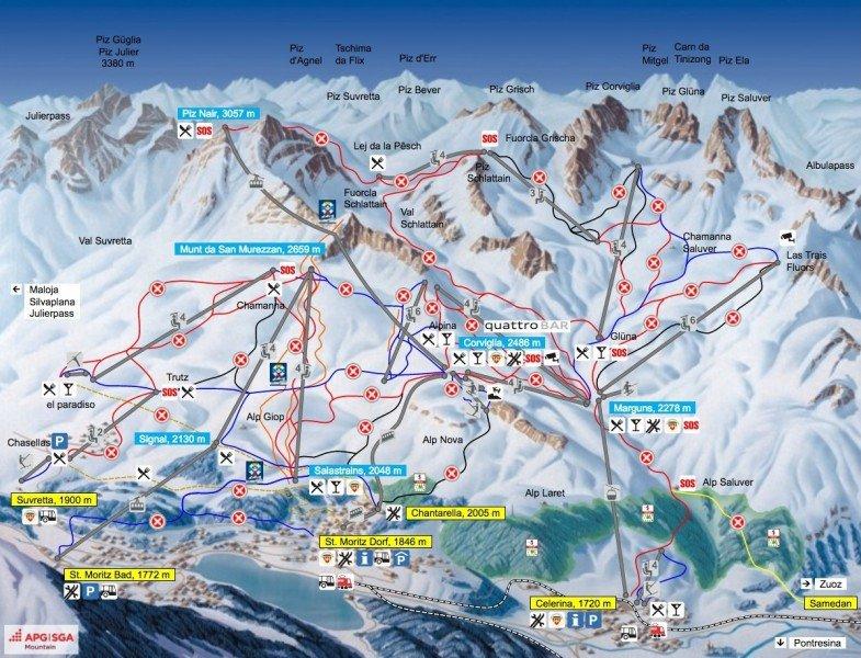 Trail Map St Moritz Corviglia Panorama