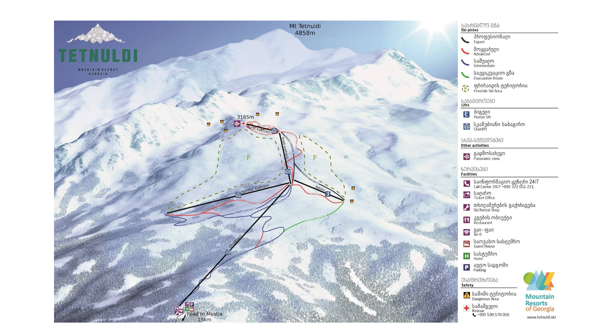 Tetnuldi - Mestia Trail Map • Piste Map • Panoramic Mountain Map