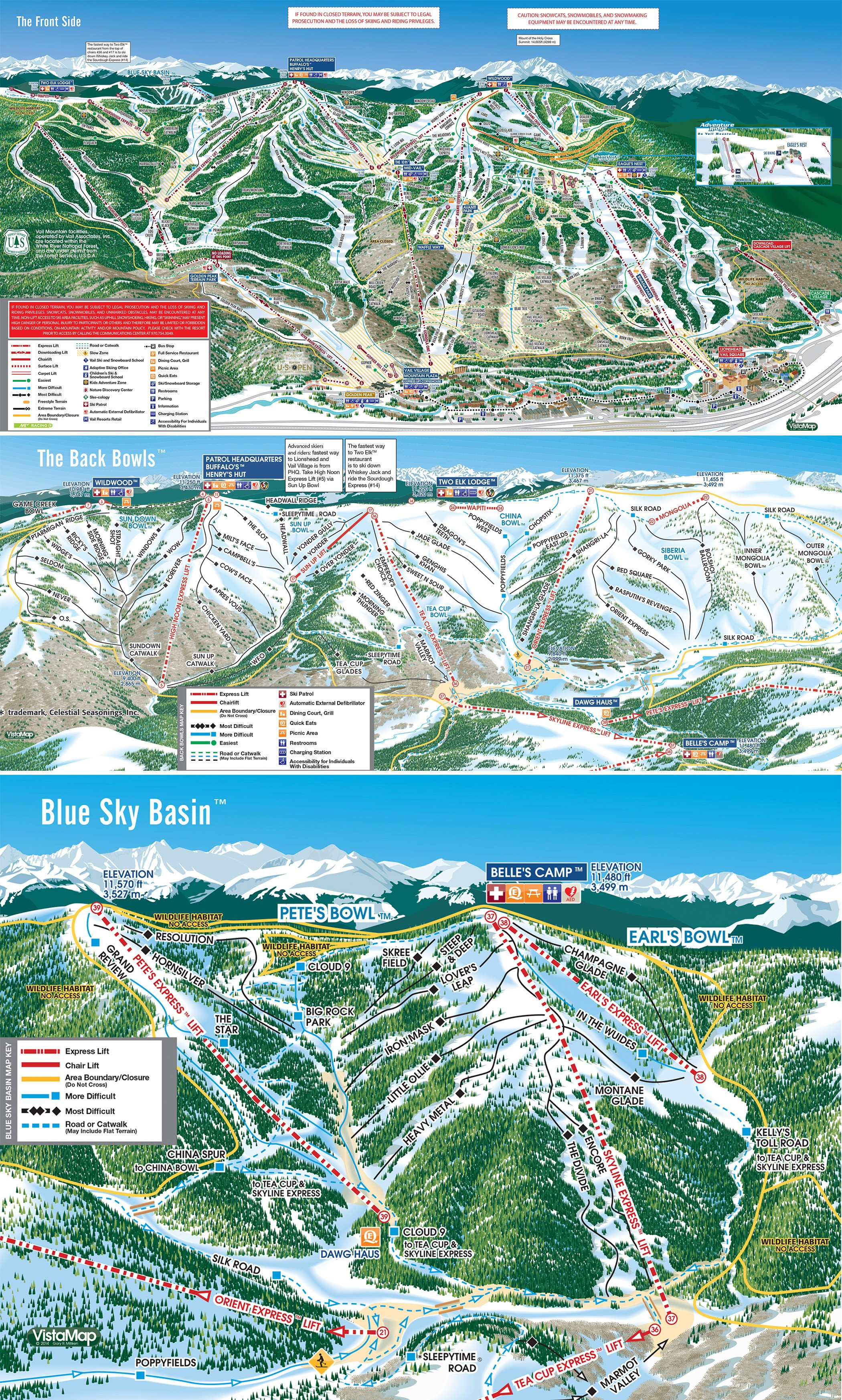 Vail Trail Map • Piste Map • Panoramic Mountain Map on