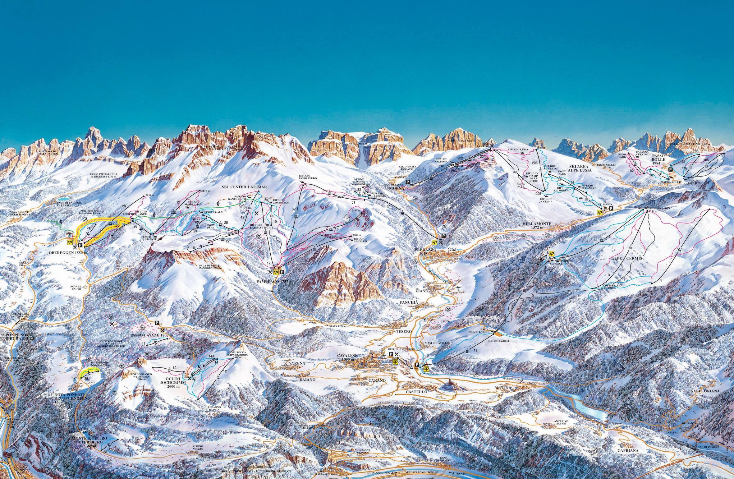 Ski map val di fiemme webcam