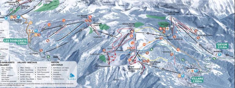 Trail Map Villars - Gryon - Les Diablerets - Glacier 3000