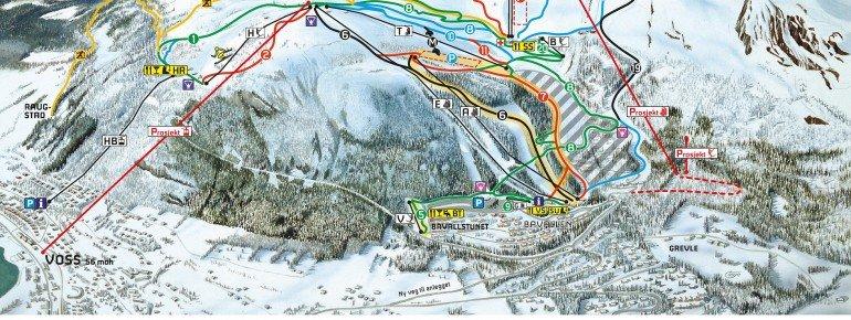 Trail Map Voss Resort Fjellheisar