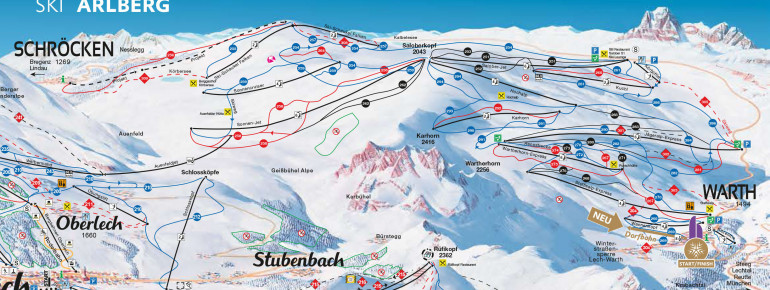 Trail Map Warth Schröcken (Ski Arlberg)