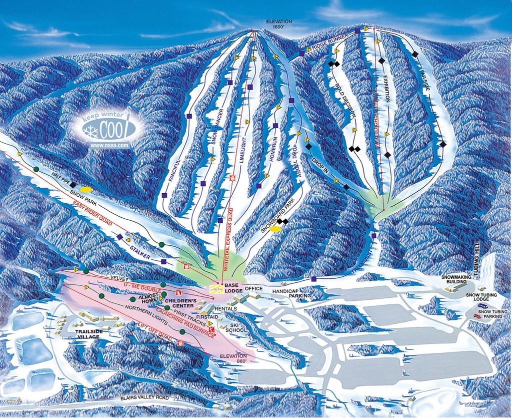 whitetail mountain resort trail map • piste map • panoramic mountain map