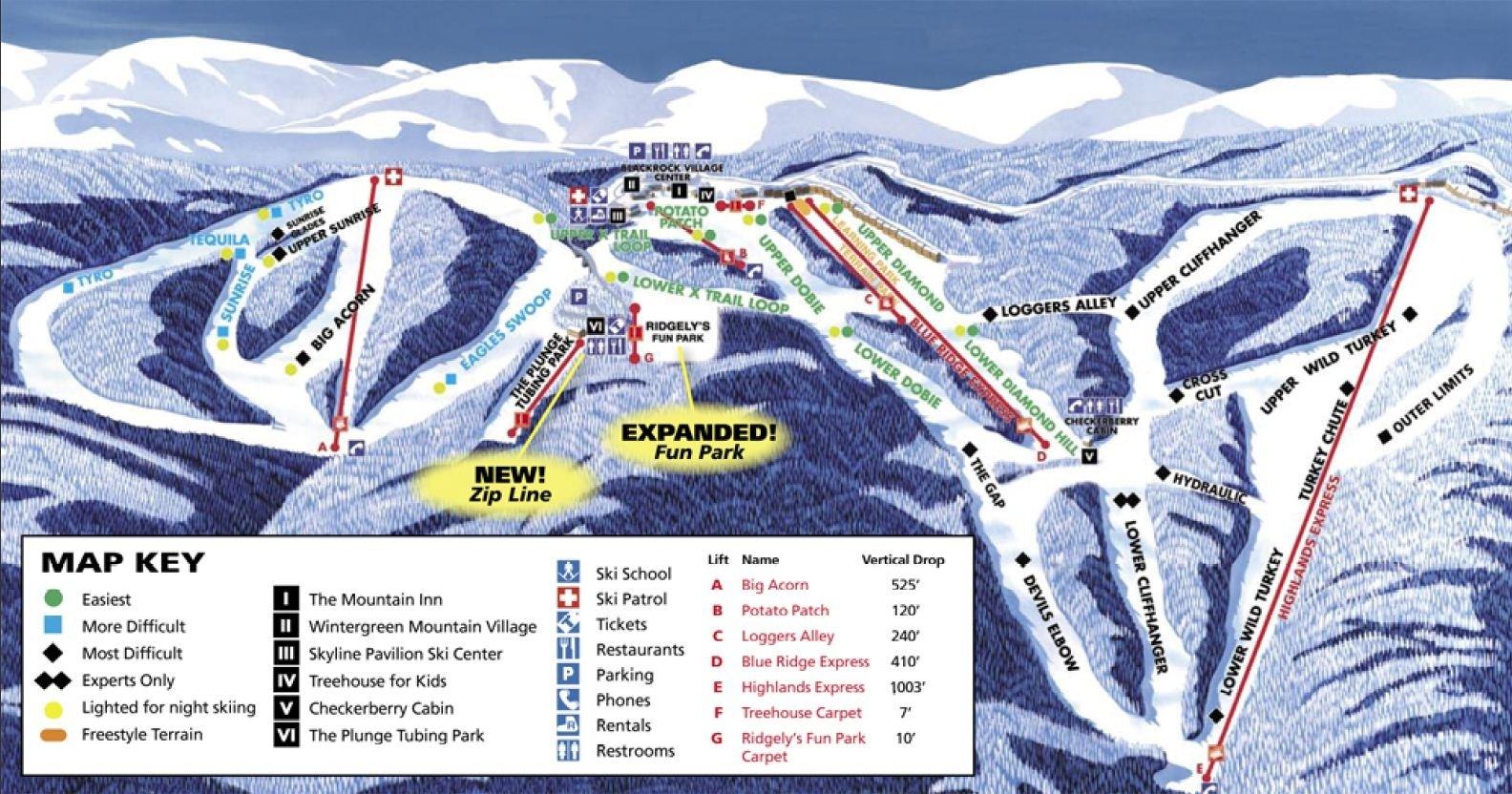 ski resorts virginia map Wintergreen Ski Resort Trail Map Piste Map Panoramic Mountain Map