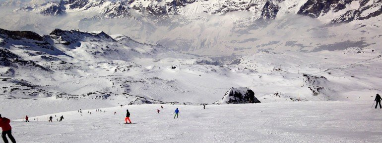 The wide runs at Breuil Cervinia are great for carving