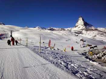 Enjoying the vista of the Matterhorn while learning how to ski