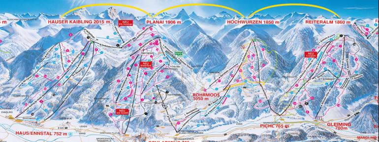 Pistenplan 4 Berge Skischaukel (Planai/Hochwurzen/Hauser Kaibling/Reiteralm)