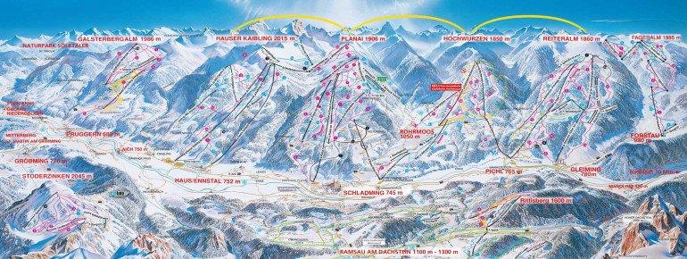 Pistenplan 4 Berge Skischaukel