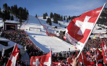Zielgelände des FIS Ski World Cup am Chuenisbärgli in Adelboden