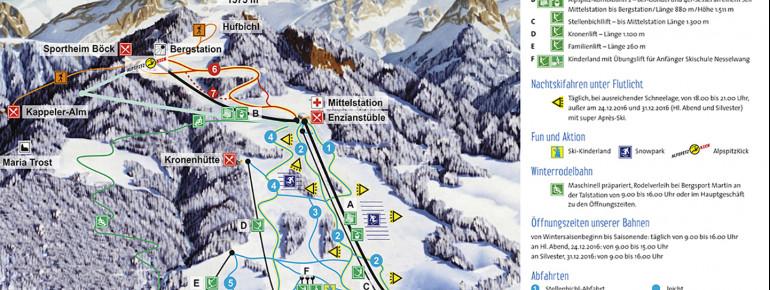 Pistenplan Skigebiet Alpspitzbahn Nesselwang