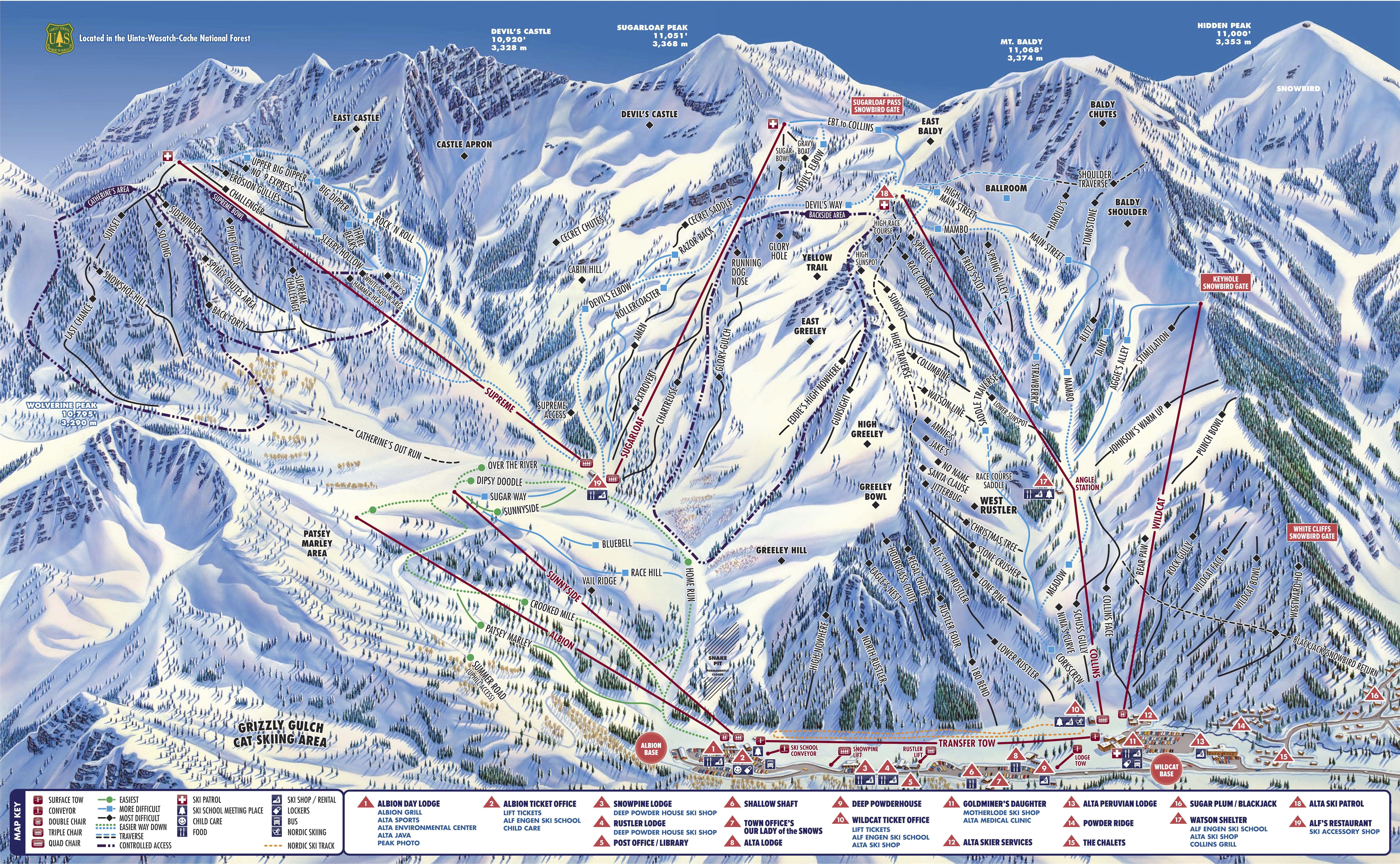Pistenplan von Alta