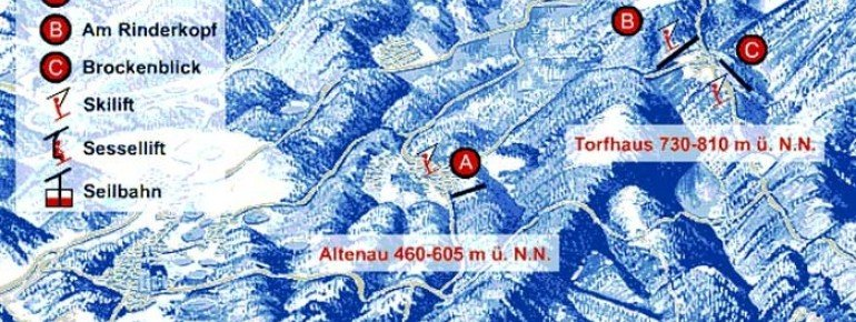 Pistenplan Auf der Rose - Altenau
