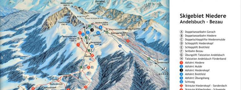 Pistenplan Skigebiet Andelsbuch