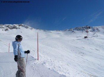 Blick auf den oberen Teil des Skigebiets.