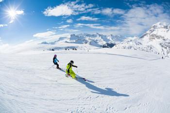 Im Skigebiet Arabba / Marmolada hast du eine tolle Aussicht auf die schönsten Gipfel der Dolomiten.